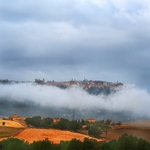 Tuscan landscape of an autumn morning ..