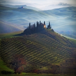 Tuscany, cold atmosphere of a winter morning.