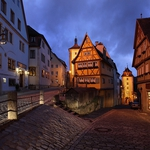 The bent houses of Rothenburg ob der Tauber