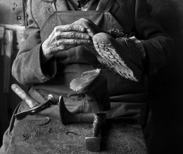 The hands of the shoe repairer