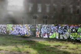 Street art in the mist